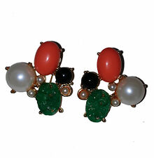 Kenneth Jay Lane Simulated Carved Onyx, Pearl & Coral Cabochons Clip Earrings