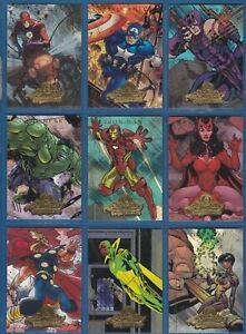 "2008 Fleer Marvel Masterpieces 2 ""AVENGERS"" Foil Complete Sub-Set | #A1-9"