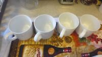 SET OF 4 CRATE AND BARREL CHINA INDONESIA WHITE CERAMIC COFFEE MUGS