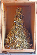 Breuner'S Commerical Gold Trimmed & Decorated Christmas Tree In Wooden Crate