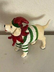Yellow Labrador Retriever Dressed For Christmas Dog Figurine