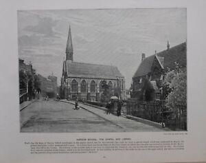 1896 London Aufdruck + Text Harrow Schule Die Kapelle Und Bibliothek
