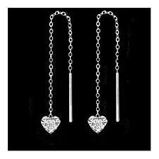 Ohrstecker Durchzieher Herz mit Zirkonia diamantiert 925 Silber Ohrringe Damen