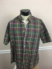 Brittany Bay Men's Large L Green Red Multi Plaid Button Front Short Sleeve Shirt