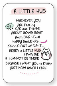 A LITTLE HUG WALLET CARD INSPIRED WORDS Verse Keepsake Sentimental Gift Love💕