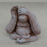 WISE MONKEY See No Evil Hand Cast Stone Detailed Garden Ornament ⧫onefold-uk