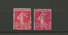 France 1932/37 2 timbres oblitérés Y&TN°278B rose Semeuse fond plein /TR5534