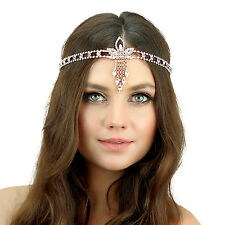 Kristin Perry 1920's Great Gatsby Inspired Crystal Pendant Headpiece Rose Gold