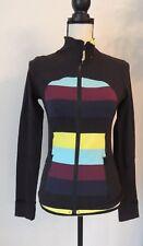 Lululemon Full Zip Jacket Black with Striped Multi Color Detail Size 4