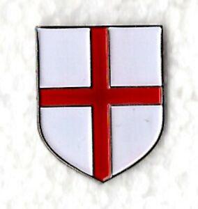 St George shield pin badge. England English. Metal Enamel. Knight Templar shield