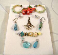 Vintage Single Pierced Earring Lot of 16 Stud Drop Turquoise Parts Repair Craft