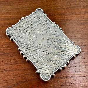 AMERICAN AESTHETIC STYLE COIN SILVER CARD CASE STRIPES AND FERNS MONOGRAM AMC