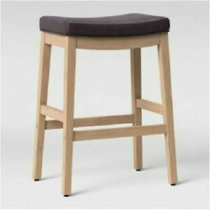 Belvidere Faux Leather Saddle Counter Stool Brown Faux Leather with Natural Leg
