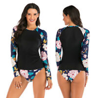 Women Long Sleeve UV Sun Protection UPF 50+ Rash Guard Two Piece Swimsuit Bikini