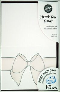 """160 Wilton Wedding All Occasion White Thank You Cards """"ELEGANT BOW""""  Printable"""