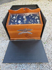 VINTAGE ANTIQUE REVERE PEWTER JEWELRY PINE DISPLAY CASE 7 DRAWER FULL INVENTORY
