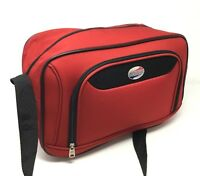American Tourister~Red~Carry on~Overnighter~Softside~Canvas~Nylon~Boarding Bag