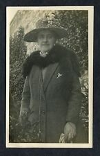 C1920's Photo of a Lady Outside in her Coat, Fur & Hat.