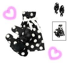 NEW VICTORIA'S SECRET Women SATIN SLIPPERS Polka Dots Black & White Size L 9-10