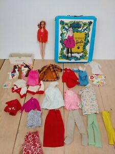 1960s Vintage Talking Stacey Barbie Doll w 1968 blue case, clothing, shoes ETC