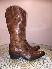 Vintage Distress Brown EL VAQUERO Leather Cowboy Boots Made in Italy US 5.5/ 35