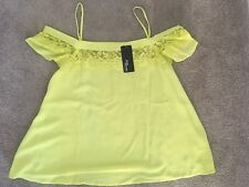 BNWT 12 Jane Norman Bardot Lime Green Top With Lace 12