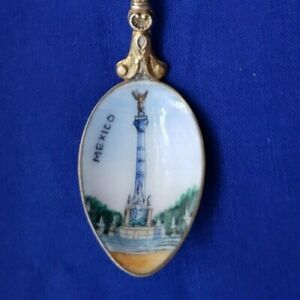 VTG Gold Tone Mexico City Souvenir Spoon w/Enamel Bowl of Angel of Independence