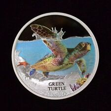 2014 $1 Tuvalu Green Turtle Endangered and Extinct Series Silver Proof