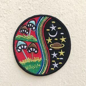 Yin Yang Mushroom Rainbow Red Nature World Galaxy Iron/Sew on Embroidered Patch