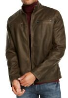 INC Mens Motorcycle Jacket Brown Size XL Washed Faux Leather Full-Zip $129 223