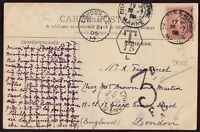 GB/France 1905 Incoming Postage Due PPC to London with London Taxe Mark L-1-15