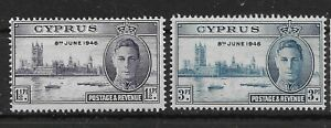 CYPRUS SG164/5 1946 VICTORY SET MTD MINT