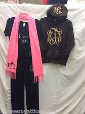 """""""BTL"""" monogram Lot Pink Scarf, Black Pants & T, Brown Hoodie Youth L XL Ladies S"""