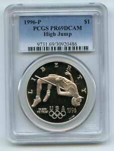 1996 P $1 High Jump Silver Commemorative Dollar PCGS PR69DCAM