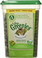 FELINE GREENIES Natural Dental Care Cat Treats Catnip Flavor 11 oz Sealed