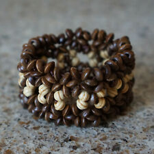 African Brown Light Wood Bracelet Women's Vintage Stretchy Beaded Bangle