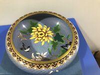 Large ANTIQUE CHINESE ENAMEL Bowl CLOISONNE FLOWERS Birds ON BRASS