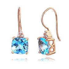 Dangle 14K Rose Gold Swiss Blue Topaz Earrings Natural 0.07 Ct Diamonds
