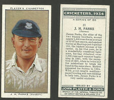 PLAYER'S 1934 CRICKETERS J.H.PARKS Card No 21 of 50 CRICKET CIGARETTE CARD