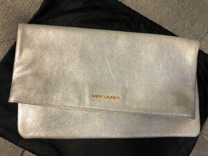 Authentic Saint Laurent Letters Large Metallic Fold-Over Clutch Bag, Silver