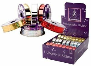10 Yards Holographic/Shiny Ribbon 3 Colour Available (PM47) RED