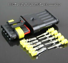 30 Kits 1 2 3 4 5 6 Pin Way Car Sealed Waterproof Electrical Wire Connector Plug