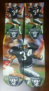 Custom Bo Jackson socks Oakland Raiders NFL football black silver
