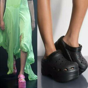 NEW~Runway Celebrity Platform CROC Sandals BLACK~Size 9