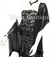 Black Chiffon Silk Scarf Wrap Sash Satin Border Maya Matazaro & Gift Box