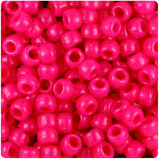 500 Magenta Pink Neon 9x6mm Barrel Pony Beads Made in the USA by The Beadery