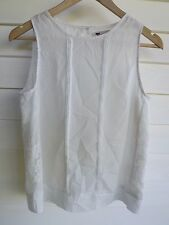 Temt Women's Sheer White Singlet Top with Lace - Size 8