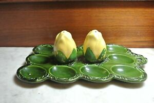 Vintage Ceramic Green Deviled Egg Plate Platter Tray Hanging w/ Sackers