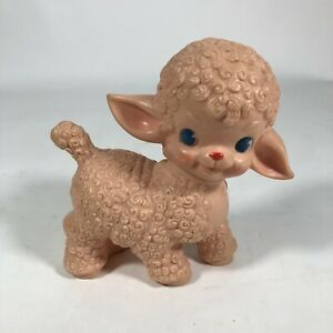 """Vintage 1955 The Sun Rubber Co. Lamb Rubber Squeaky Baby Toy, 6.5"""" Tall Pink"""