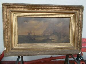 Old Maritime Oil Painting in Original Heavy Gilt  Frame   1850s